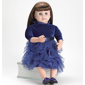 ask amy doll brunette blue dress