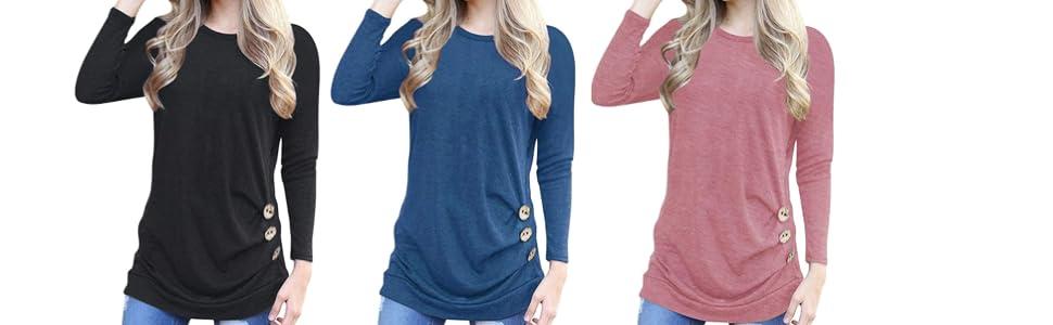 7475ecf3 MOLERANI Women's Casual Long Sleeve Round Neck Loose Tunic T Shirt Blouse  Tops
