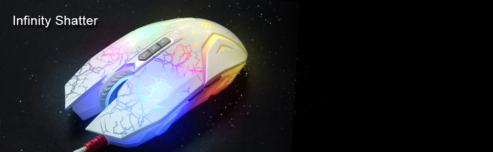 Infinity Shatter Mouse White Gaming Mouse Clean Optical Switch Gaming Mouse Neon Lit Gaming