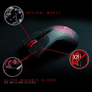 A90 - Optical Gaming Mouse with Light Strike (Lk) Optical Switch/Scroll - 8  Programmable Buttons and Advanced Macros - 4000 DPI