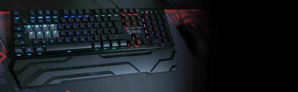8 key Light Strike Optical Switch Water Resistant Bloody Gaming Keyboard Full RGB Lighting Membrane