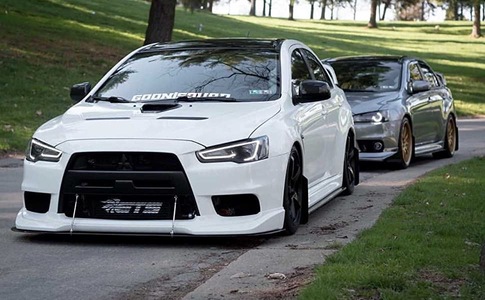 Evo 9 Headlights >> Amazon.com: Vland LED Blackout Headlights For 2008-2017 Mitsubishi Lancer/Evo X head lamp Audi ...