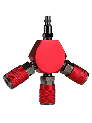 ULTECHNOVO 3-Way Air Manifold Hex Style Air Hose Splitter Manifold with 1//4 Industrial 6-Ball Brass Couplers
