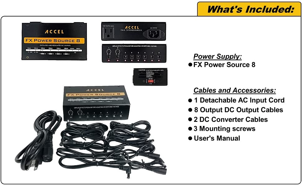 Accel FX Power Source 8 Pedal Board Power Supply with 8 isolated outputs