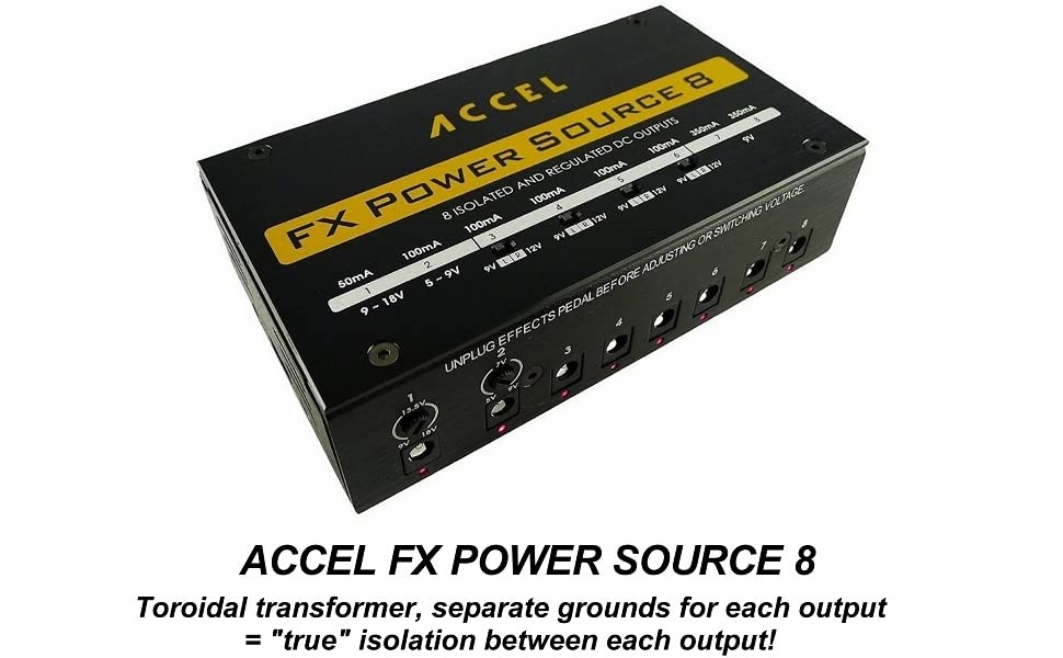 Power Supply for Guitar Effects Accel FX Power Source 8 /& Cables
