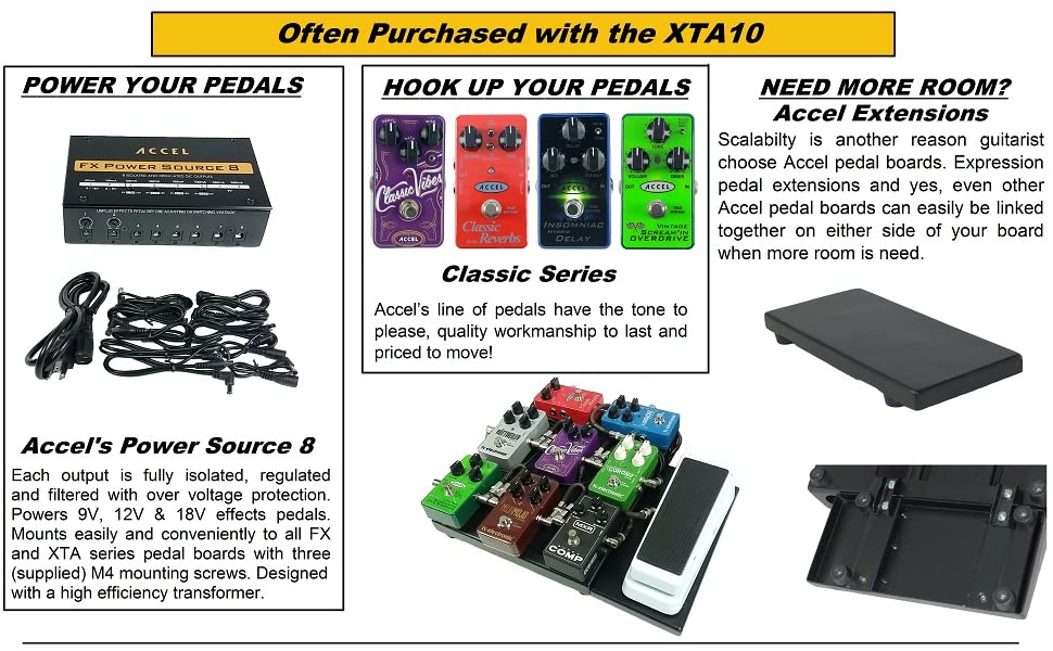 Case /& Cables FX8 Power supply Accel XTA10 Pedal board