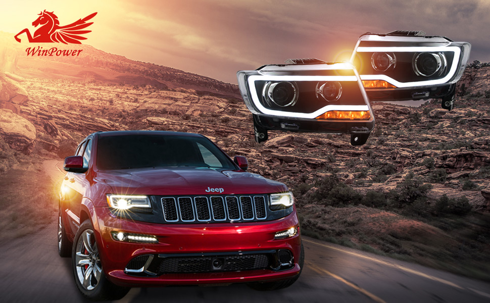 Good 2011 2013 Jeep Compass Grand Cherokee Without Factory HID/Xenon Headlights,  White DRL Bar Projector LED Headlights By Win Power, 1 Pair.
