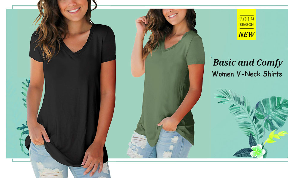 Womens Tops Turn Up Holiday Tee Fashion Tops loose Short Sleeve Stretch T-Shirt