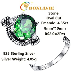 BONLAVIE Womens 4.35ct Oval Cut Created Green Emerald Cubic Zirconia 925 Sterling Silver Cocktail Ring