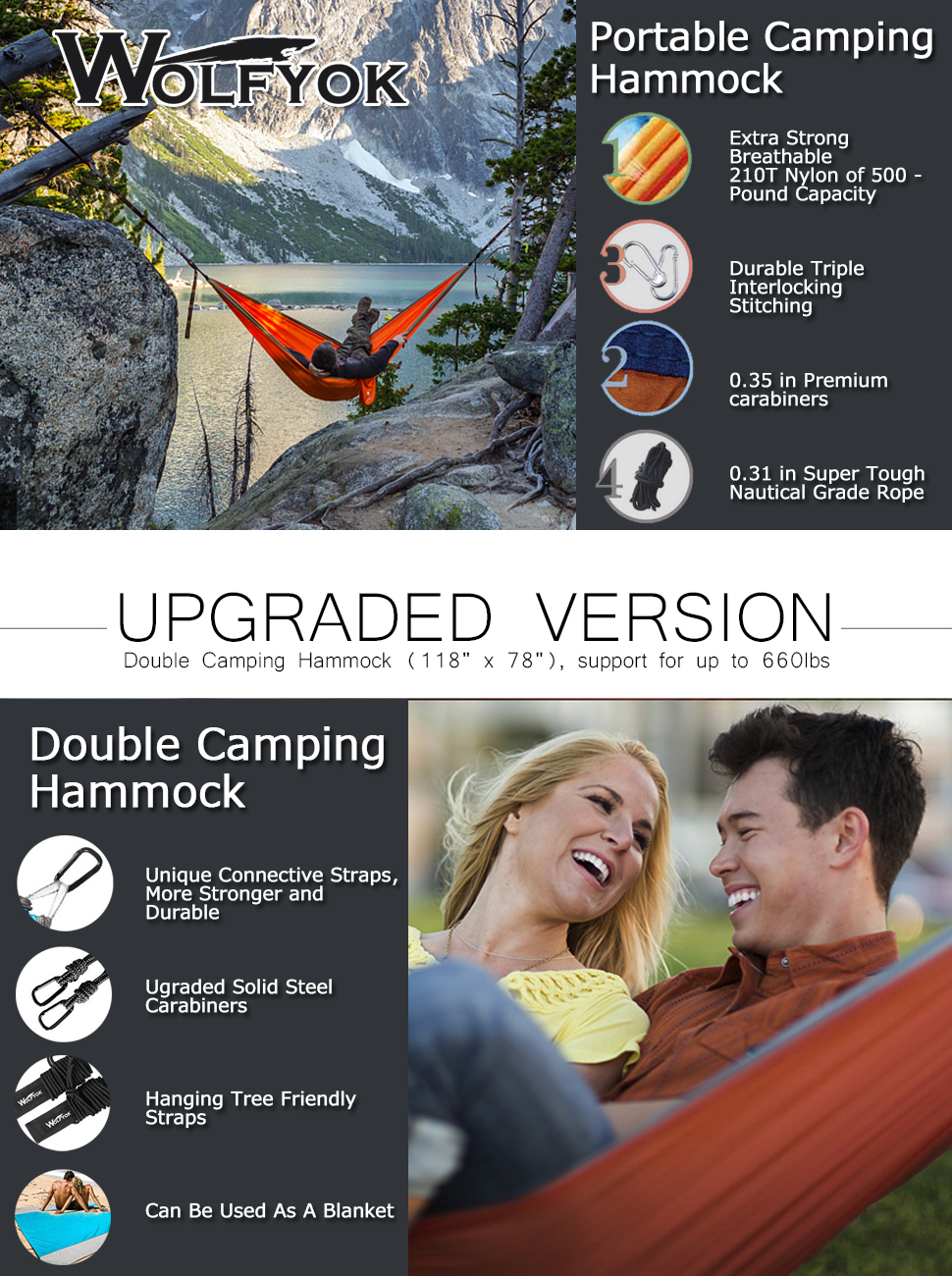 amazon com double camping hammock wolfyok lightweight portable