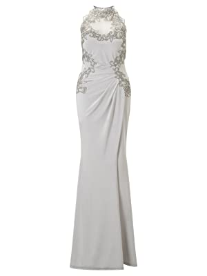 Lipsy Womens Applique High Neck Maxi Lace Dress Sleeveless Regular Fit Silver