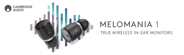 Melomania 1 true wireless in ear monitors text next to 2 headphones angled in front of music symbol