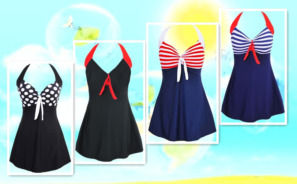 2f1bde0e74aa4 MiYang Vintage Sailor Pin Up Swimsuit One Piece Skirtini Cover Up Swimdress