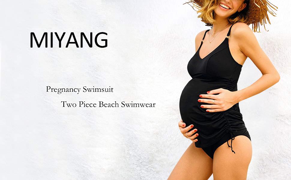 MiYang Women Maternity Tankini Set Pregnant Two Piece Beach Swimwear