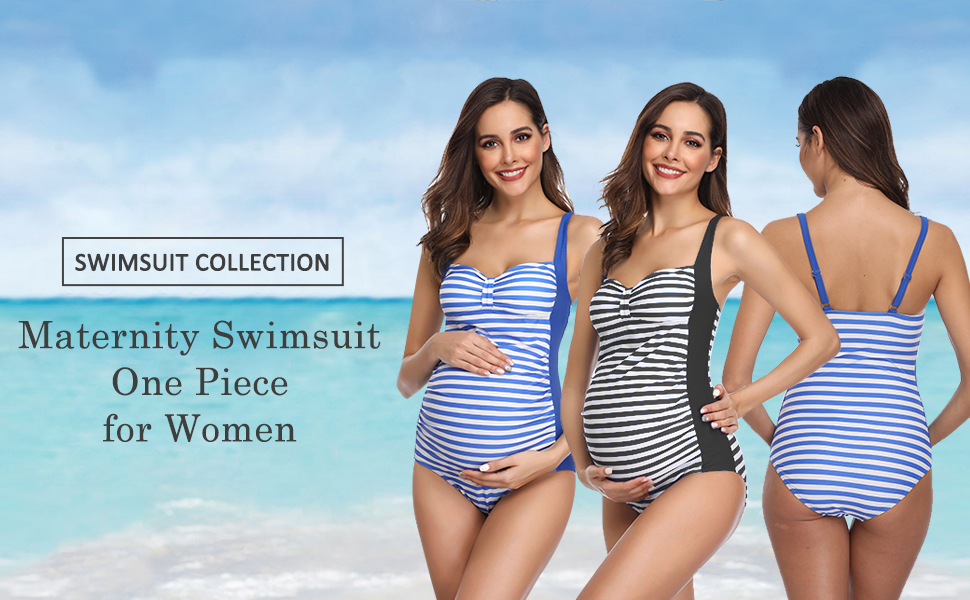 Pregnant Women Swimsuit One Piece,Wesracia Classic Striped Maternity Bathing Suits Pregnancy Swim Cover Ups