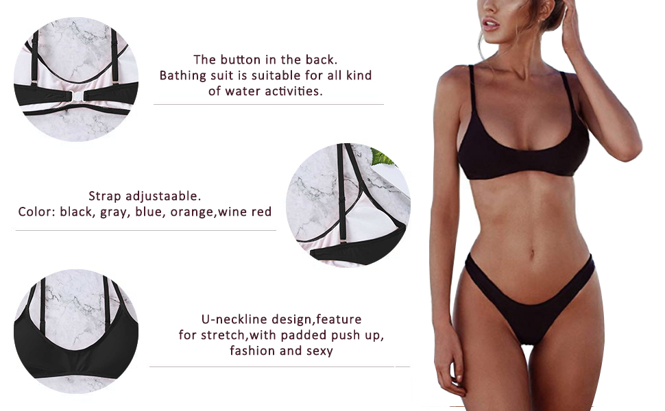 ecb2d3b8ae3c5 Padded Push up Brazilian Thong Bikini Sets · High Cut Cheeky Two Piece  Swimsuit · Women Bikini Set Padded Triangle · Padded Push up Bikini Sets