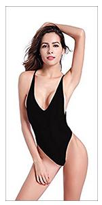 SHEKINI Women's Sexy V Neck High Cut Halter One Piece