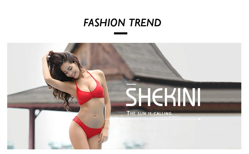 SHEKINI Womens Bikini Padded Cutout Strappy Halter Swimsuits Two Piece  Bathing Suits
