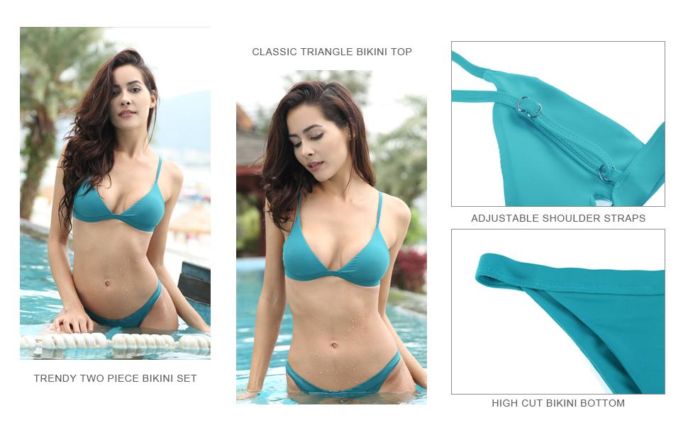 SHEKINI Swimwear Padded Two Piece Triangle Bikini Set Brazilian Swimsuits  for Women