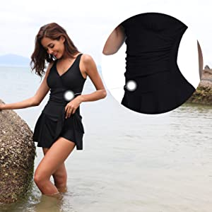 SHEKINI Women's One Piece Skirt Swimsuit Ruched Retro Swimdress Bathing Suit