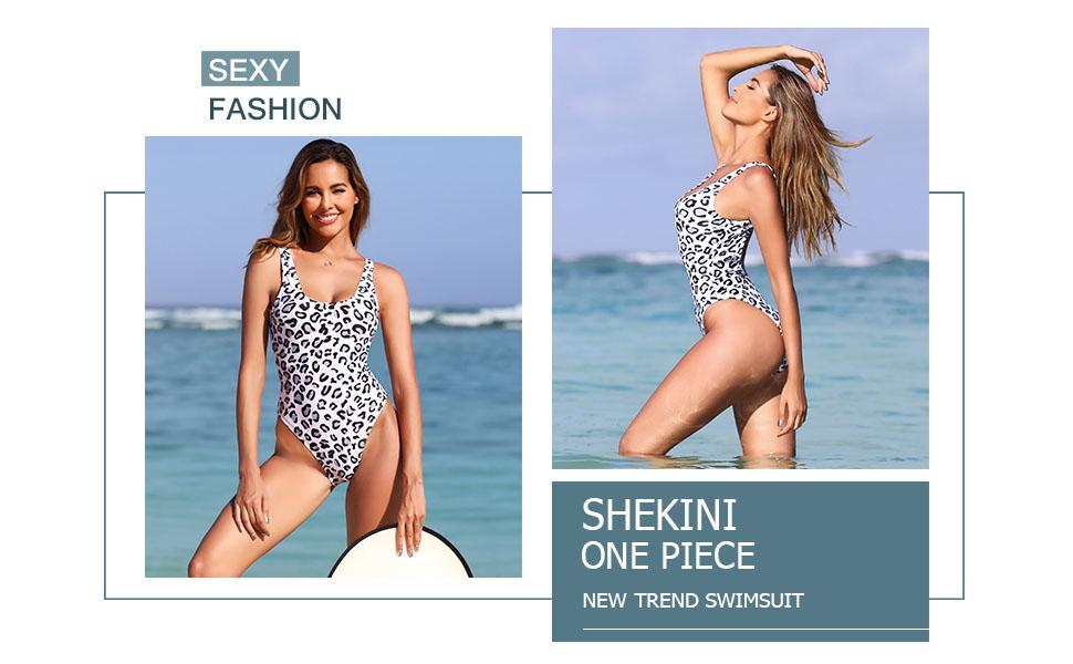 SHEKINI Women's Retro High Cut Low Back Brazilian Bikini One Piece Swimsuits