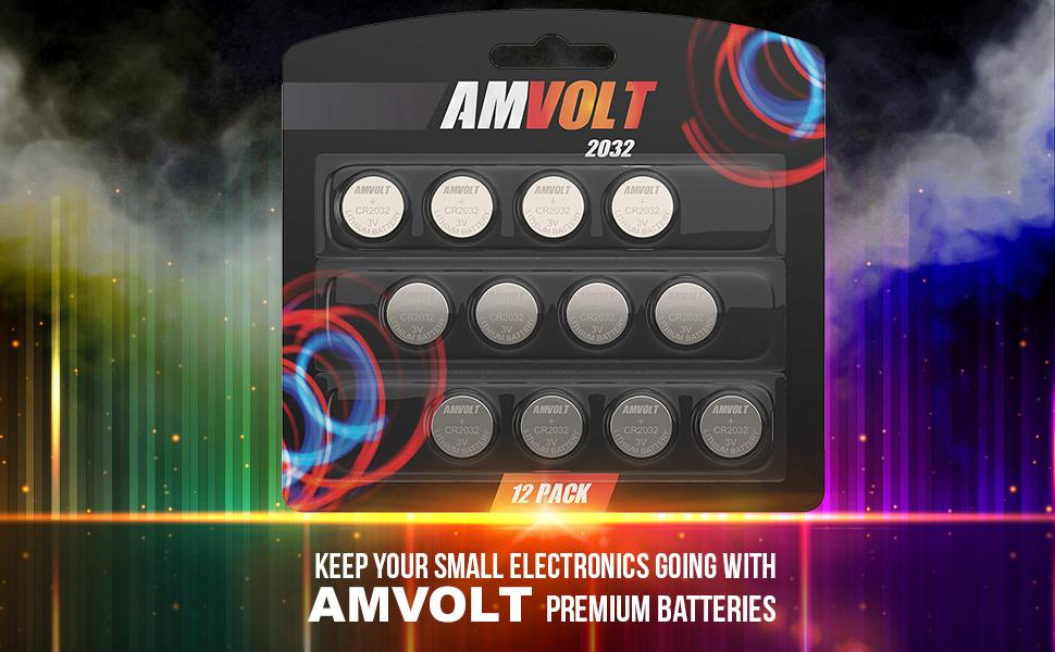 Amazon.com: Paquete de 12 pilas de botón AmVolt CR2032 de ...
