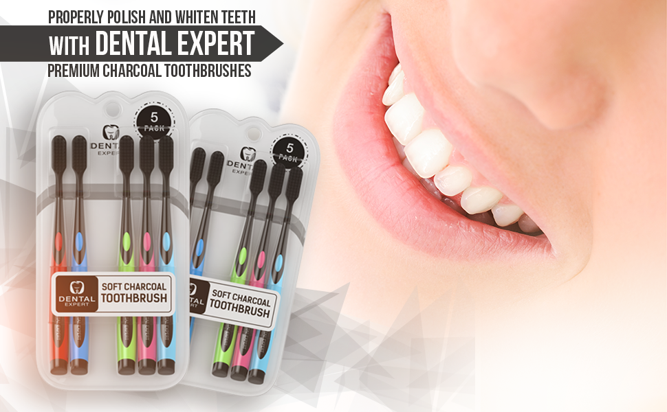 5 Pack Colorful Charcoal Toothbrush [GENTLE SOFT] Slim Teeth Head Whitening  Brush for Adults &