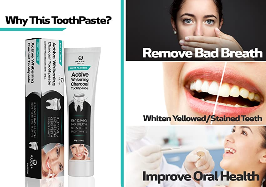 activated charcoal teeth whitening toothpaste mint flavor destroys bad breath. Black Bedroom Furniture Sets. Home Design Ideas
