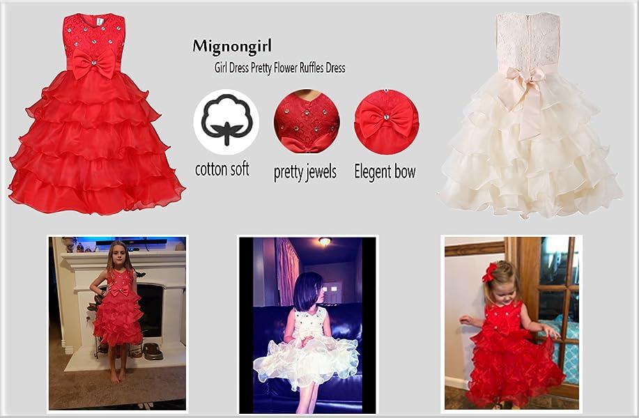 Amazon.com: Mignongirl Flower Girl Dress -Princess Laces Ruffles ...