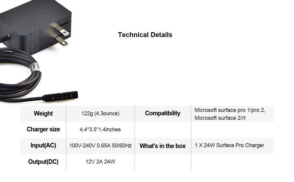 Amazon.com: Genuine AC Adapter 24 W 12 V 2 A para Microsoft ...