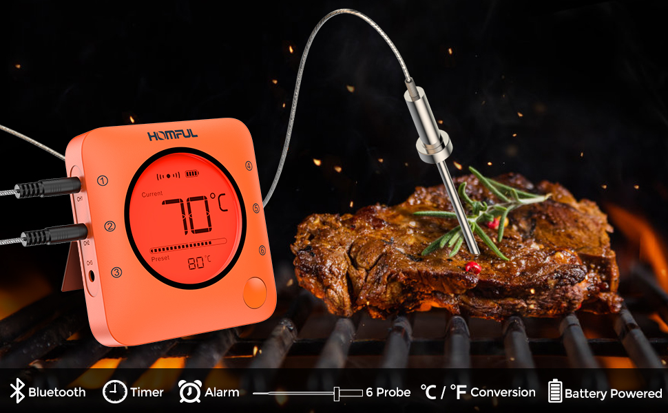 Amazon.com: Homfy Termómetro de carne, termómetro digital de ...
