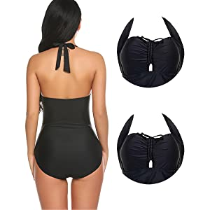 9db3101eafb82 Ekouaer Women's Vintage One Piece Swimsuits Retro Swimwear Slimming  Monokini Bathing Suits for Women