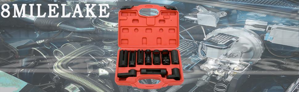 10Pcs Oxygen Sensor Socket Set Sensor Oil Pressure Sending Unit Removal Kit