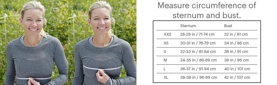 Size chart hydration vest