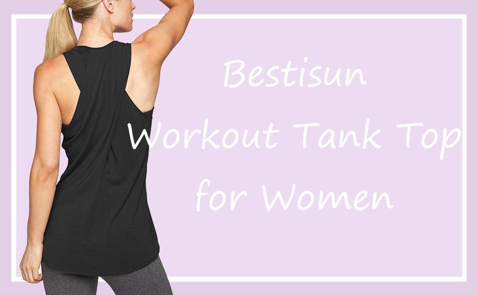 44a577197ee41 Bestisun Women s Racerback Tank Top Crossover Back T-Shirt Casual ...