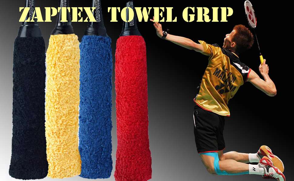 Zaptex Cotton Towel Grip for Tennis Badminton Racquet OverGrip Sweatband Anti-Skid Sweat Tape Absorbed Wraps