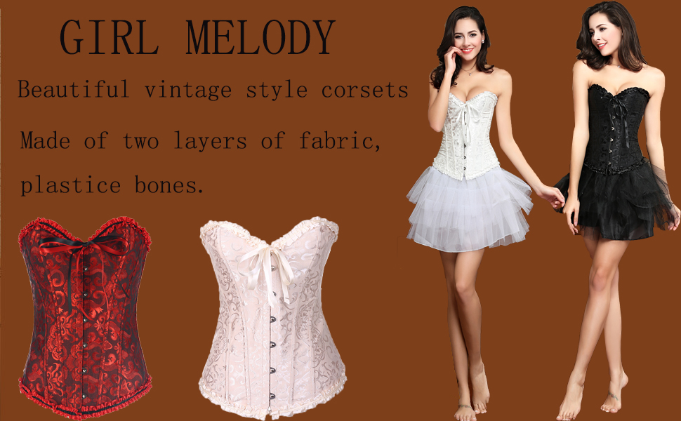 8143e85818 Amazon.com  GIRL MELODY Women s Lace up Boned Plus Size Overbust ...