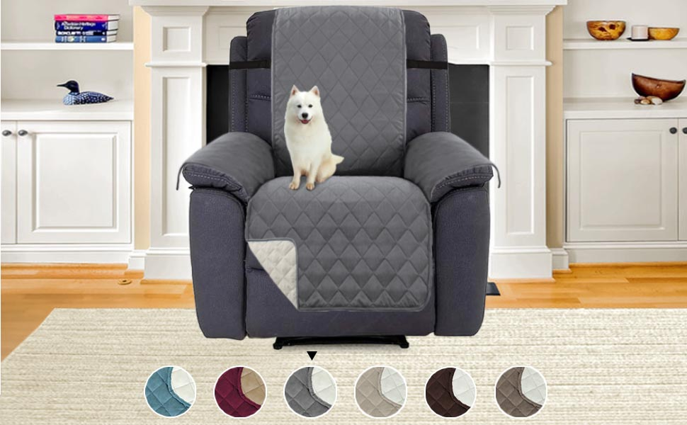 H.VERSAILTEX Oversized Recliner Chair Covers Reversible Furniture Cover, Stay in Place with Adjusts Straps, Protect from Pets, Spills, Wear and Tear, ...