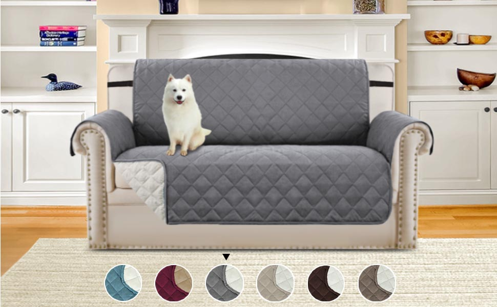 Sofa Cover Sofa Slipcover Sofa Protector for Dogs Pets, Quilted Quick Drape Reversible Furniture Cover, Stay in Space with Wider Straps, 75 inch x 98 ...