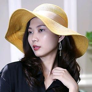 Hand Braided Wave Point Linen Bow Childrens Straw Hat Big Brim Sun Hat