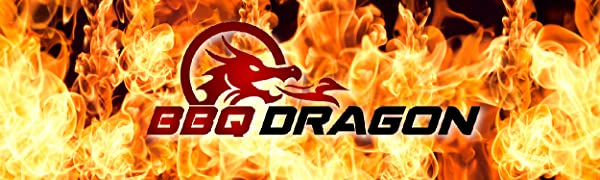 Text reading BBQ Dragon with graphic of dragon breathing fire all surrounded by flames.