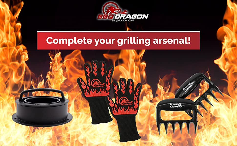Large image featuring BBQ Dragon Tools and text that reads: complete your grilling arsenal!