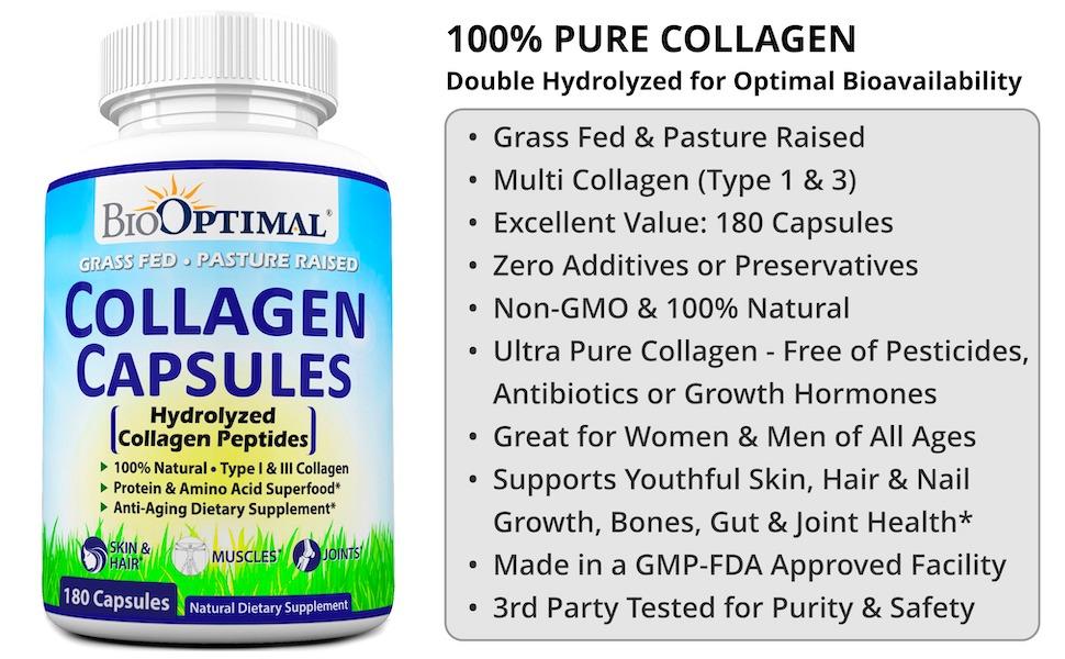 collagen pills, collagen supplements, collagen capsules for women, grass fed, pasture raised organic