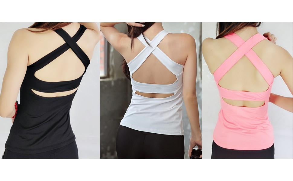 9126c1abba6 Dri-fit Strappy Criss Cross Yoga Tops. Tag-free label inside back neck for  added comfort