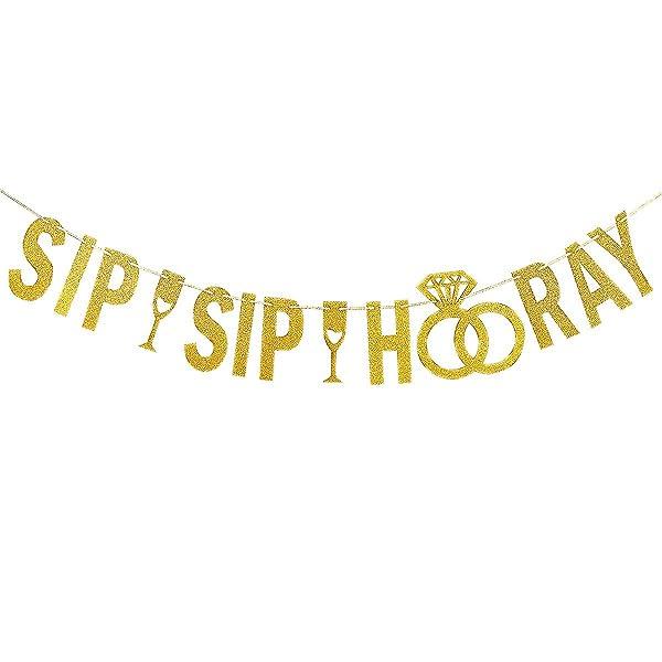 Amazon.com: Oro Glittery Sip Sip Hooray Banner, para ...