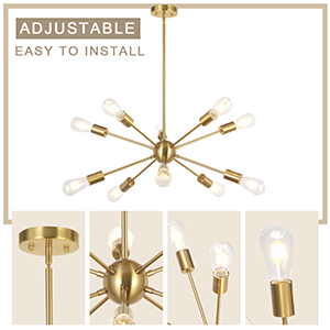 Gold Industrial Vintage Ceiling Light Fixture