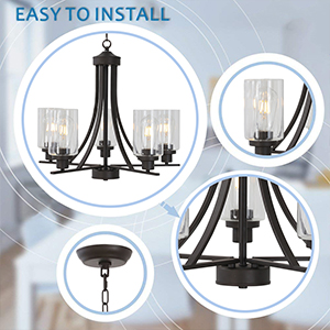 Oil-Rubbed Bronze Mid Century Semi Flush Mount Ceiling Light Retro Chandelier Lighting
