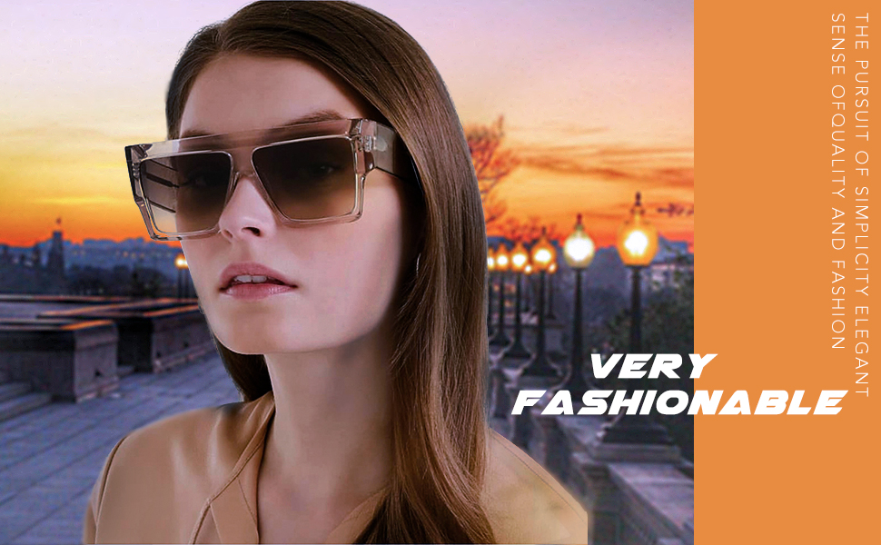 ca687279953 Product Features  Fashion - the large square lens and flat top frame ...