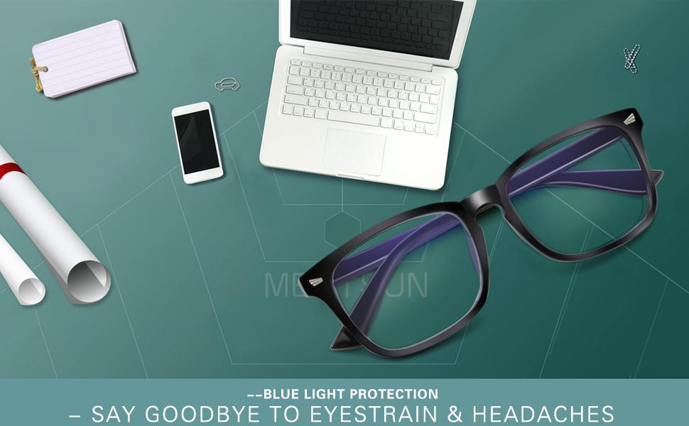 ,Computer Reading Glasses UV400 Transparent Lens MEETSUN Blue Light Blocking Glasses Anti Eye Strain Headache Sleep Better