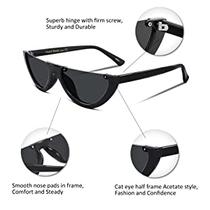 4d4e0cf6b4 Amazon.com  FEISEDY Retro Clout Goggles Cat Eye Half Frame Kurt ...